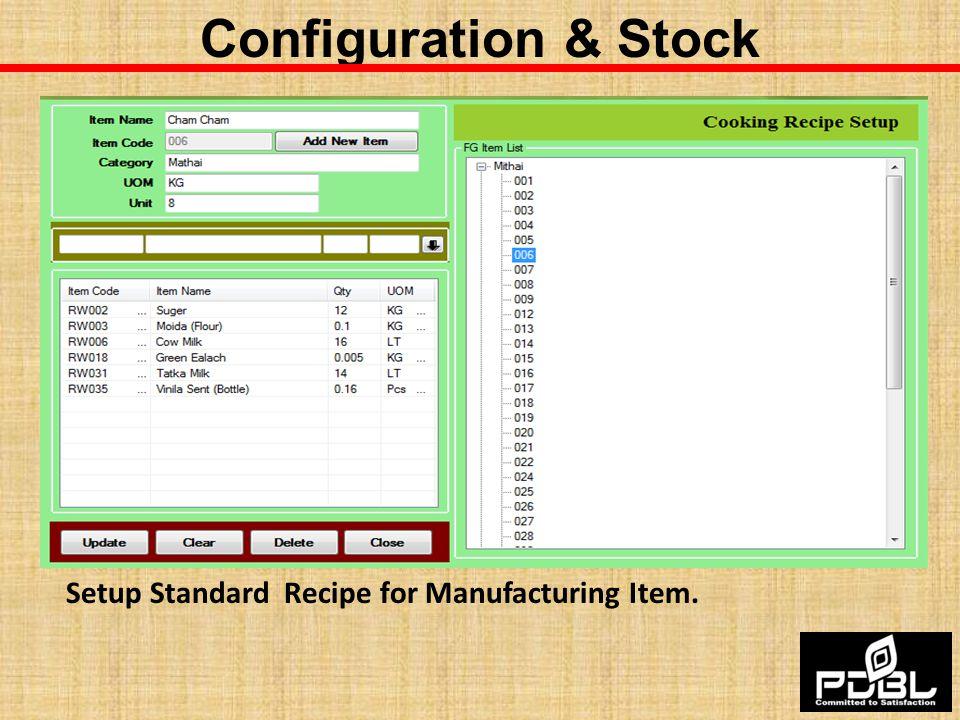 Setup Standard Recipe for Manufacturing Item.