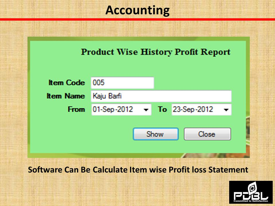 Software Can Be Calculate Item wise Profit loss Statement
