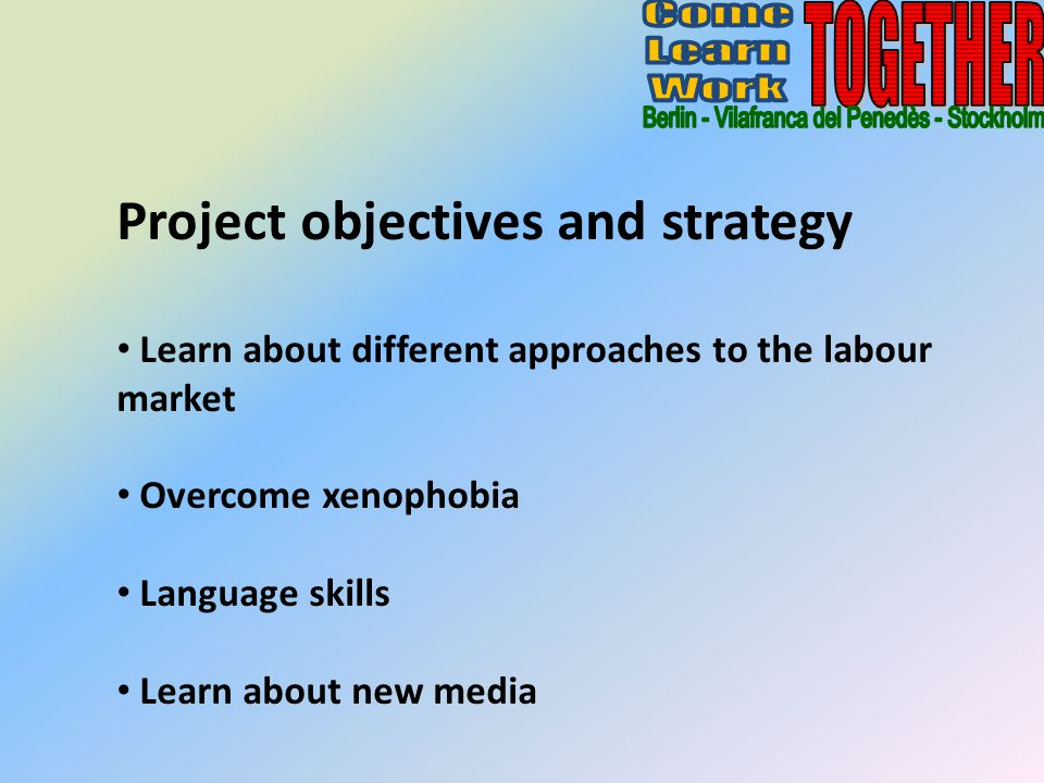 Project objectives and strategy Learn about different approaches to the labour market Overcome xenophobia Language skills Learn about new media