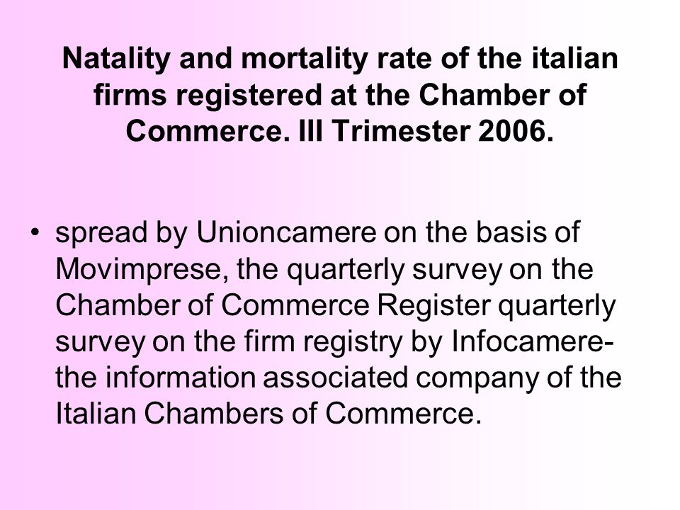 Natality and mortality rate of the italian firms registered at the Chamber of Commerce. III Trimester 2006. spread by Unioncamere on the basis of Movi