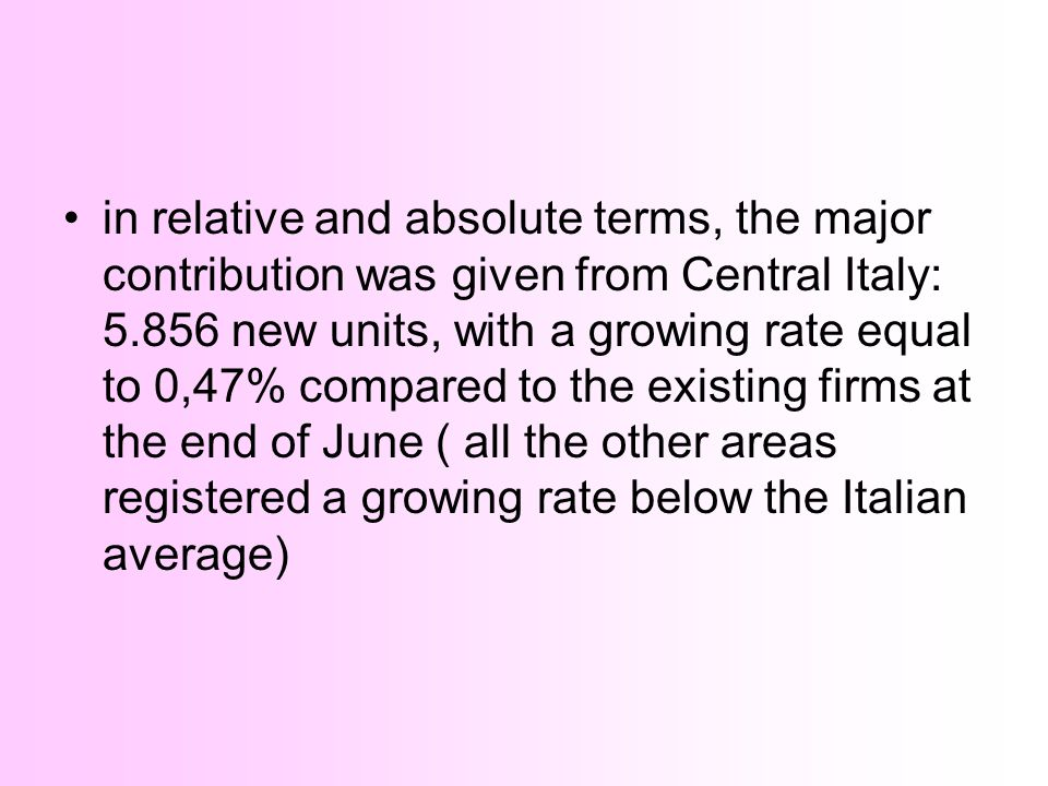in relative and absolute terms, the major contribution was given from Central Italy: 5.856 new units, with a growing rate equal to 0,47% compared to the existing firms at the end of June ( all the other areas registered a growing rate below the Italian average)