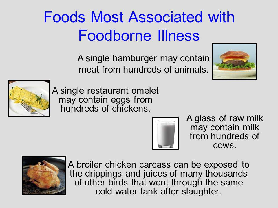 Foods Most Associated with Foodborne Illness A broiler chicken carcass can be exposed to the drippings and juices of many thousands of other birds tha