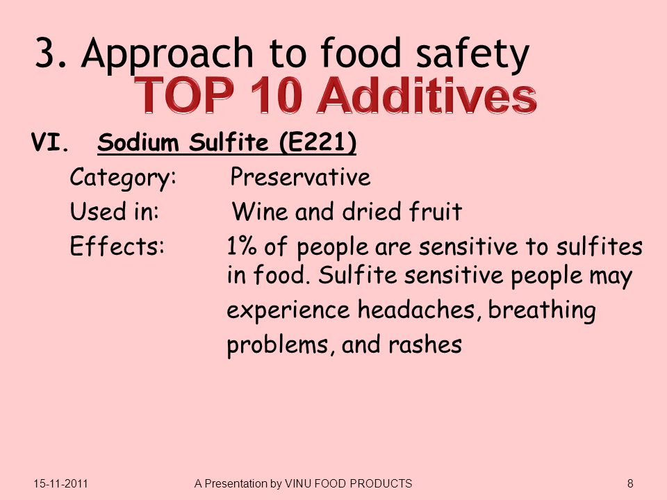 3.Approach to food safety VI.