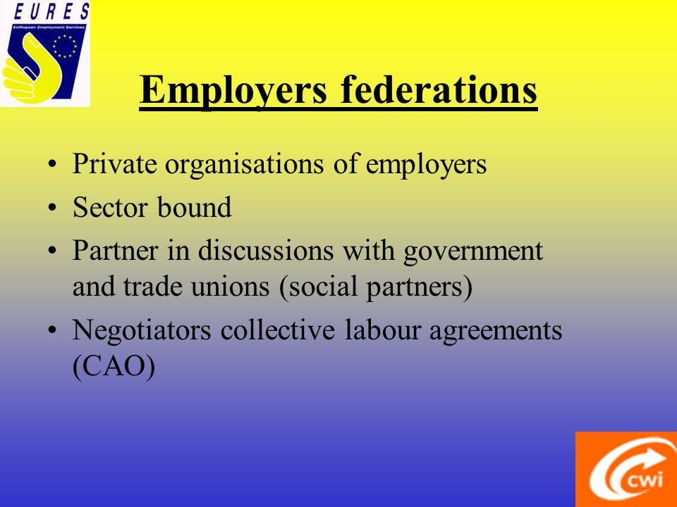 Employers federations Private organisations of employers Sector bound Partner in discussions with government and trade unions (social partners) Negotiators collective labour agreements (CAO)
