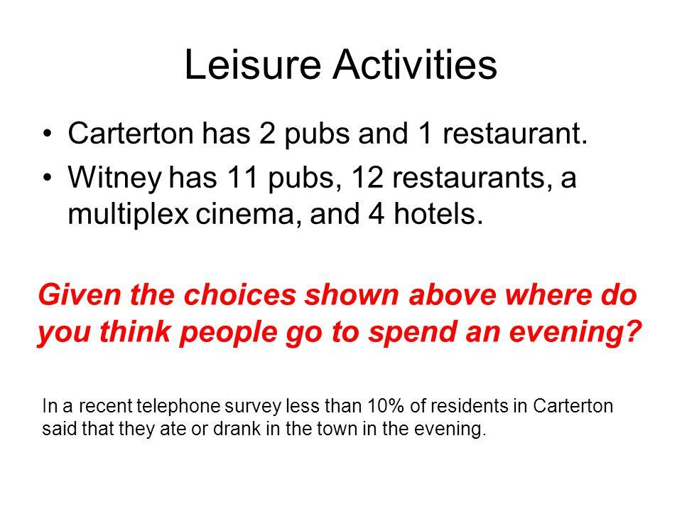 Leisure Activities Carterton has 2 pubs and 1 restaurant.