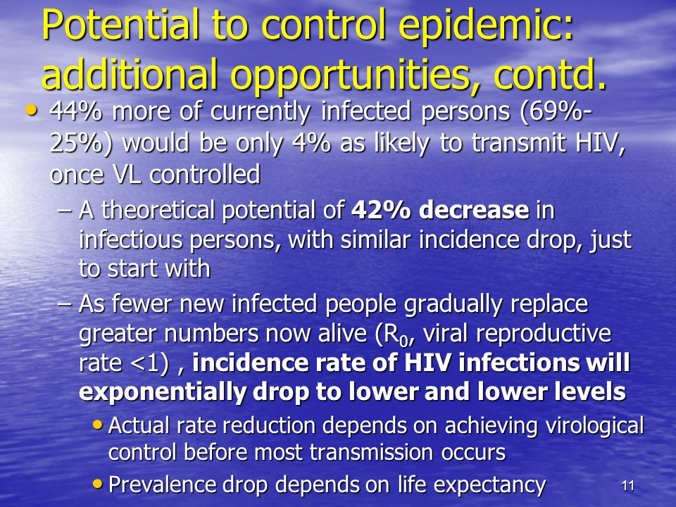 Potential to control epidemic: additional opportunities, contd.