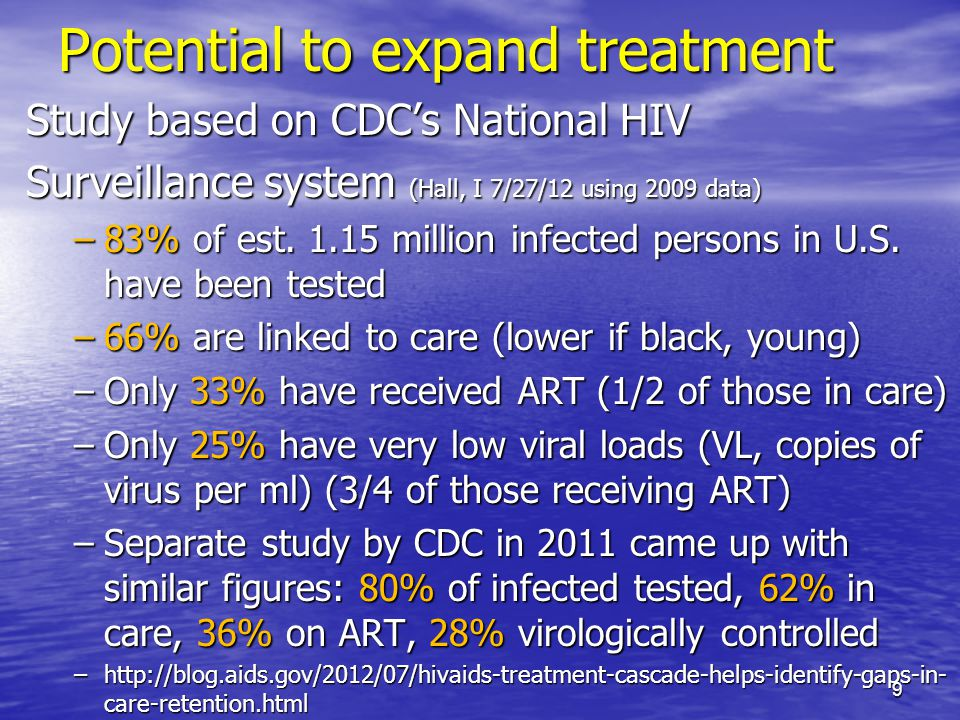 Potential to expand treatment Study based on CDCs National HIV Surveillance system (Hall, I 7/27/12 using 2009 data) –83% of est.