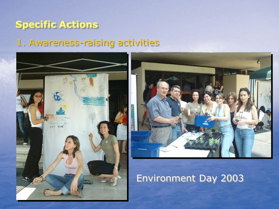 Specific Actions 1. Awareness-raising activities Environment Day 2003