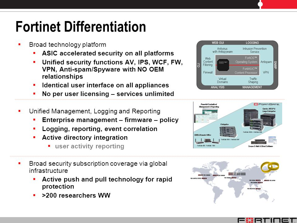 Fortinet Differentiation Broad technology platform ASIC accelerated security on all platforms Unified security functions AV, IPS, WCF, FW, VPN, Anti-spam/Spyware with NO OEM relationships Identical user interface on all appliances No per user licensing – services unlimited Unified Management, Logging and Reporting Enterprise management – firmware – policy Logging, reporting, event correlation Active directory integration user activity reporting Broad security subscription coverage via global infrastructure Active push and pull technology for rapid protection >200 researchers WW