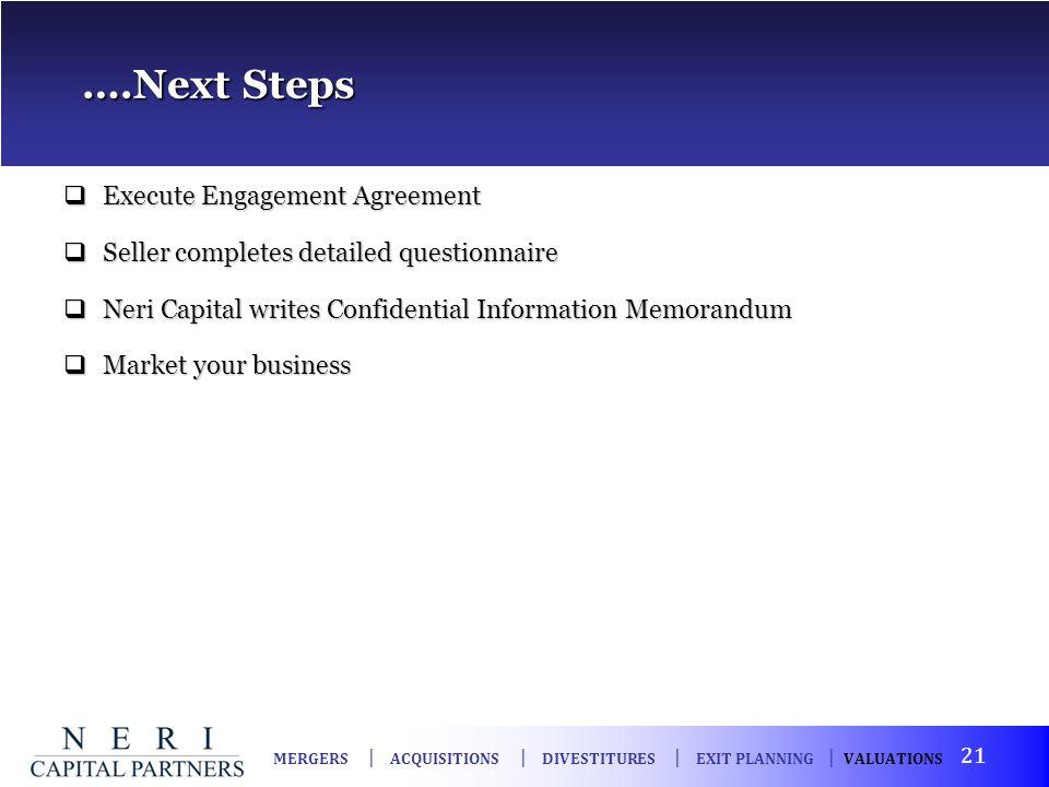 ….Next Steps ….Next Steps Execute Engagement Agreement Execute Engagement Agreement Seller completes detailed questionnaire Seller completes detailed