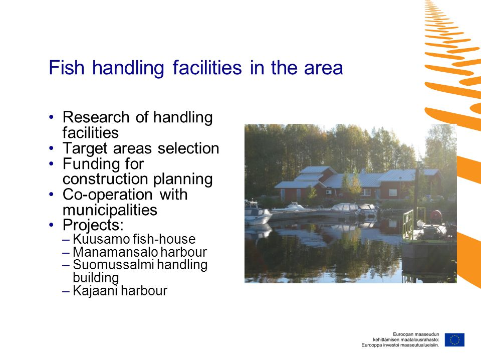 Fish handling facilities in the area Research of handling facilities Target areas selection Funding for construction planning Co-operation with municipalities Projects: –Kuusamo fish-house –Manamansalo harbour –Suomussalmi handling building –Kajaani harbour
