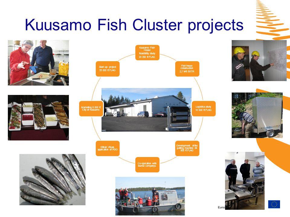 Kuusamo Fish Cluster projects Kuusamo Fish House feasibility study 23 250 FLAG Fish house construction 2,7 M EKTR Logistics study 10 000 FLAG Developm