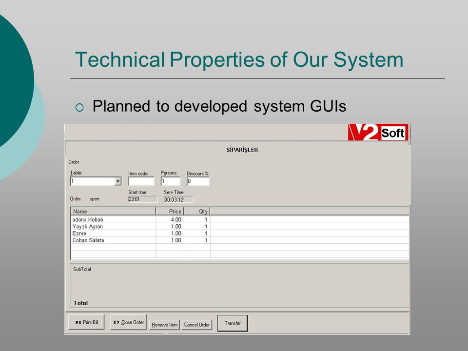 Technical Properties of Our System Planned to developed system GUIs