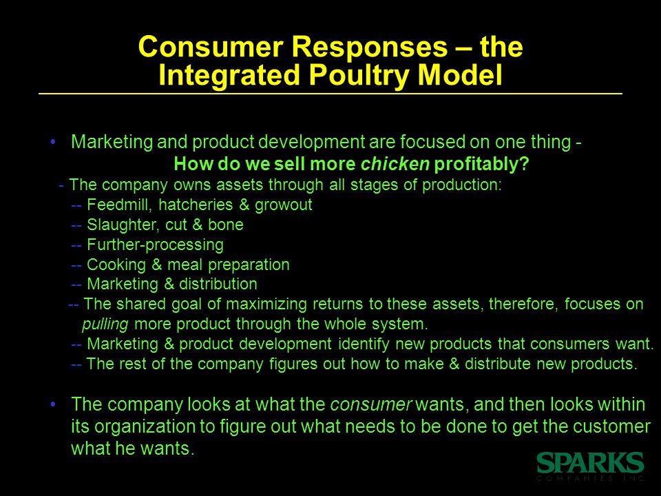 Consumer Responses – the Integrated Poultry Model Marketing and product development are focused on one thing - How do we sell more chicken profitably.