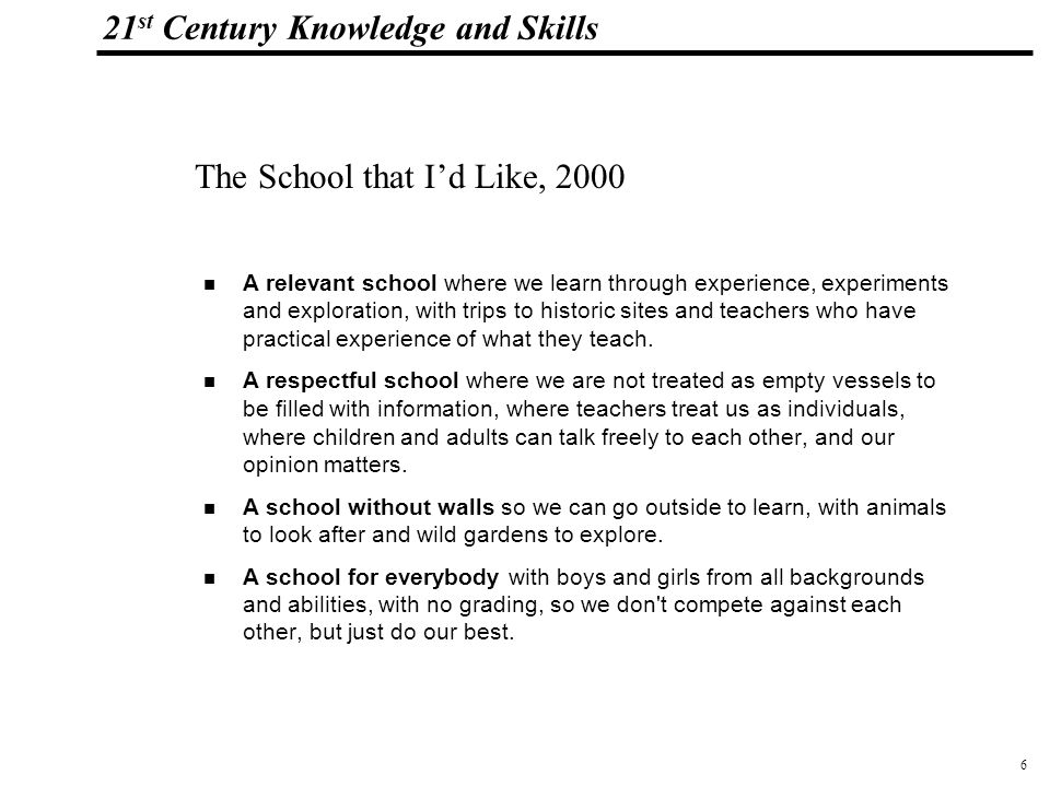 7 108319_Macros 21 st Century Knowledge and Skills If I Could Make a School by student Pooja Agarwal, (Learning and Leading with Technology, November 2001), Student Technology Leadership Symposium, June 23-24, 2001, held in conjunction with NECC, by the International Society of Technology in Education (ISTE) U.S.