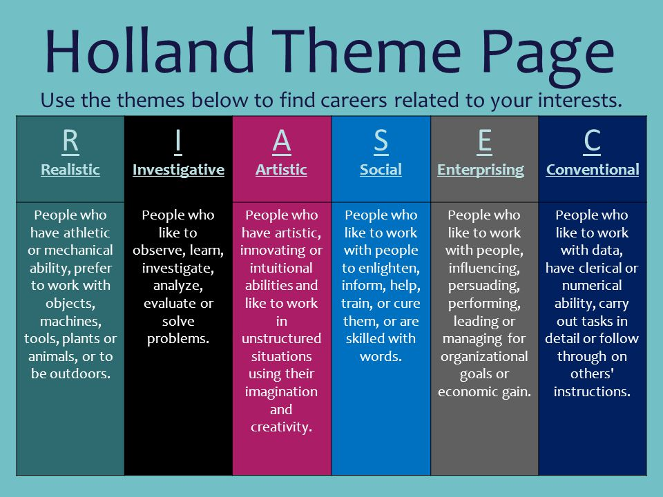 Use the themes below to find careers related to your interests.