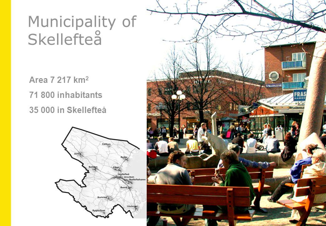 Area 7 217 km 2 71 800 inhabitants 35 000 in Skellefteå Municipality of Skellefteå
