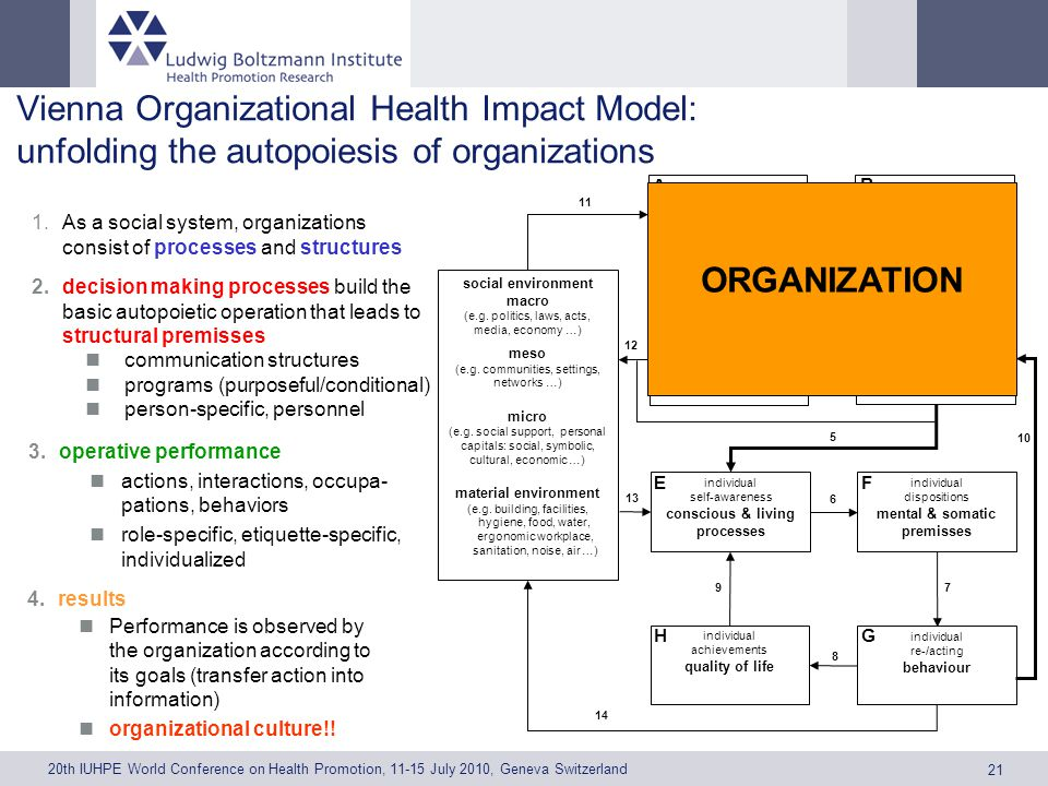 20th IUHPE World Conference on Health Promotion, 11-15 July 2010, Geneva Switzerland 21 Vienna Organizational Health Impact Model: unfolding the autopoiesis of organizations processes A structures B 1 1.As a social system, organizations consist of processes and structures 2.decision making processes build the basic autopoietic operation that leads to structural premisses communication structures programs (purposeful/conditional) person-specific, personnel decision making premisses 3.operative performance actions, interactions, occupa- pations, behaviors role-specific, etiquette-specific, individualized performance 2 4.results Performance is observed by the organization according to its goals (transfer action into information) organizational culture!.