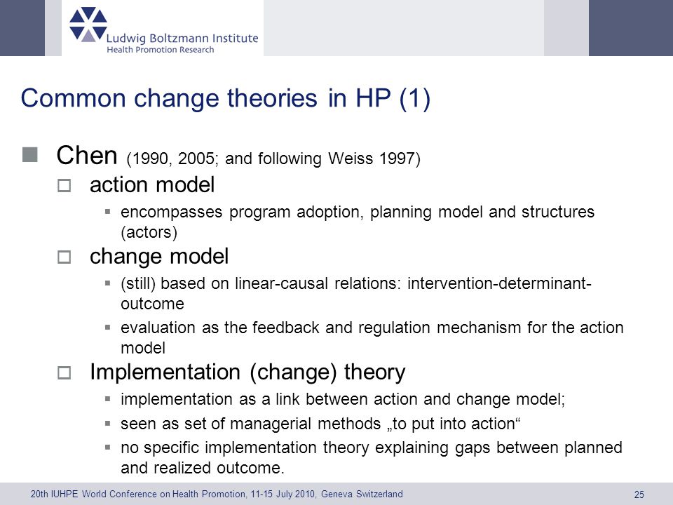 20th IUHPE World Conference on Health Promotion, 11-15 July 2010, Geneva Switzerland 25 Common change theories in HP (1) Chen (1990, 2005; and following Weiss 1997) action model encompasses program adoption, planning model and structures (actors) change model (still) based on linear-causal relations: intervention-determinant- outcome evaluation as the feedback and regulation mechanism for the action model Implementation (change) theory implementation as a link between action and change model; seen as set of managerial methods to put into action no specific implementation theory explaining gaps between planned and realized outcome.
