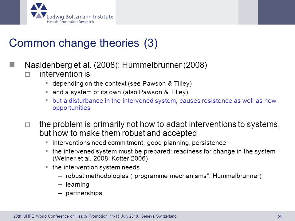 20th IUHPE World Conference on Health Promotion, 11-15 July 2010, Geneva Switzerland 28 Common change theories (3) Naaldenberg et al.