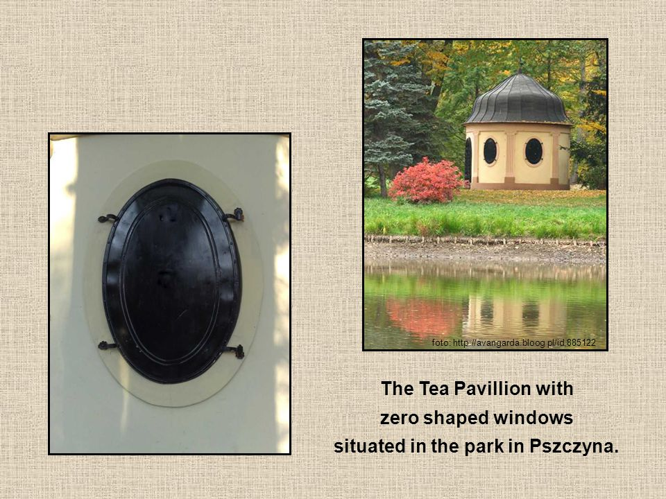 The Tea Pavillion with zero shaped windows situated in the park in Pszczyna.