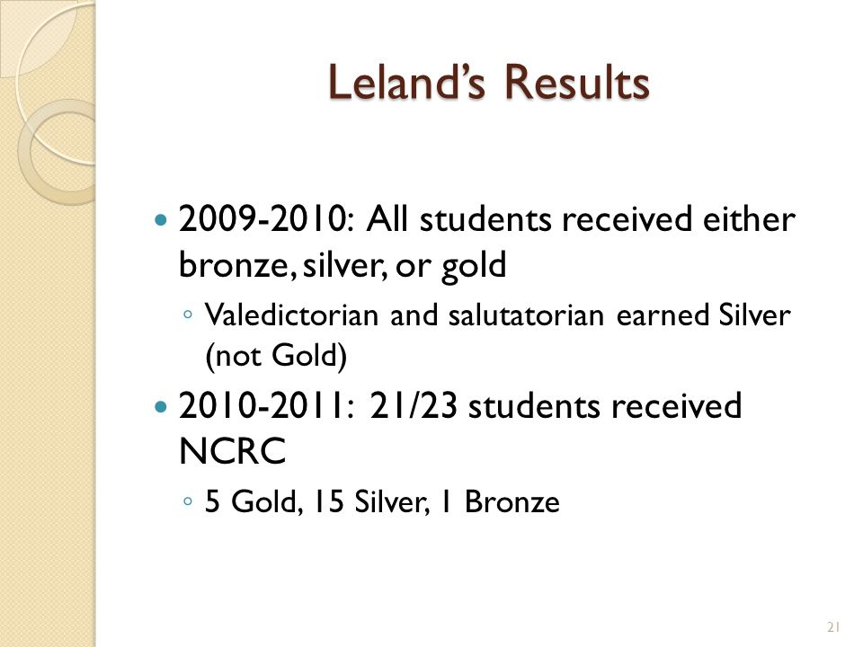 Lelands Results 2009-2010: All students received either bronze, silver, or gold Valedictorian and salutatorian earned Silver (not Gold) 2010-2011: 21/23 students received NCRC 5 Gold, 15 Silver, 1 Bronze 21
