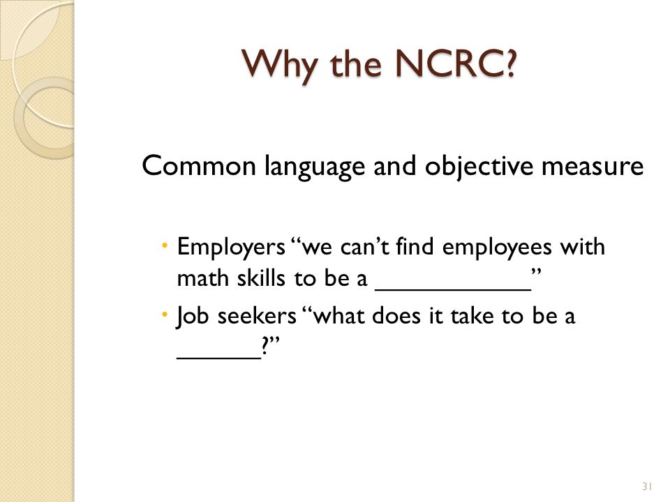 Why the NCRC.