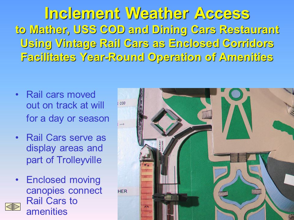 Inclement Weather Access to Mather, USS COD and Dining Cars Restaurant Using Vintage Rail Cars as Enclosed Corridors Facilitates Year-Round Operation of Amenities Rail cars moved out on track at will for a day or season Rail Cars serve as display areas and part of Trolleyville Enclosed moving canopies connect Rail Cars to amenities