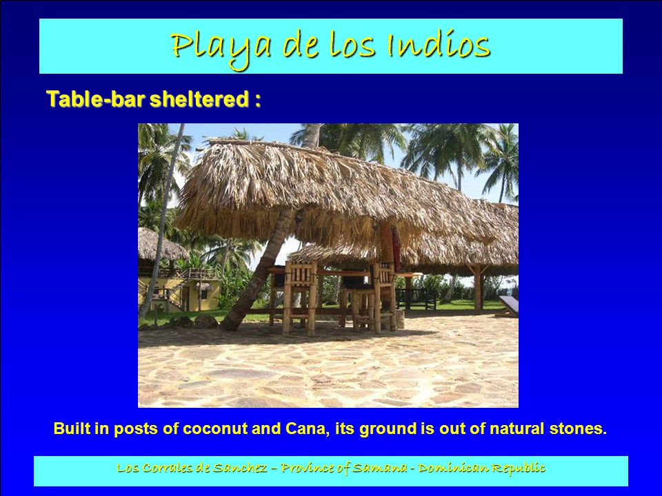 Playa de los Indios Los Corrales de Sanchez – Province of Samana - Dominican Republic Table-bar sheltered : Built in posts of coconut and Cana, its gr