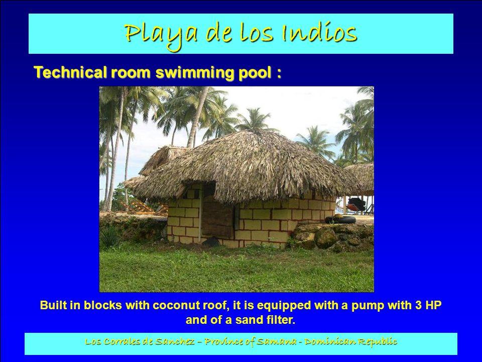 Playa de los Indios Los Corrales de Sanchez – Province of Samana - Dominican Republic Technical room swimming pool : Built in blocks with coconut roof