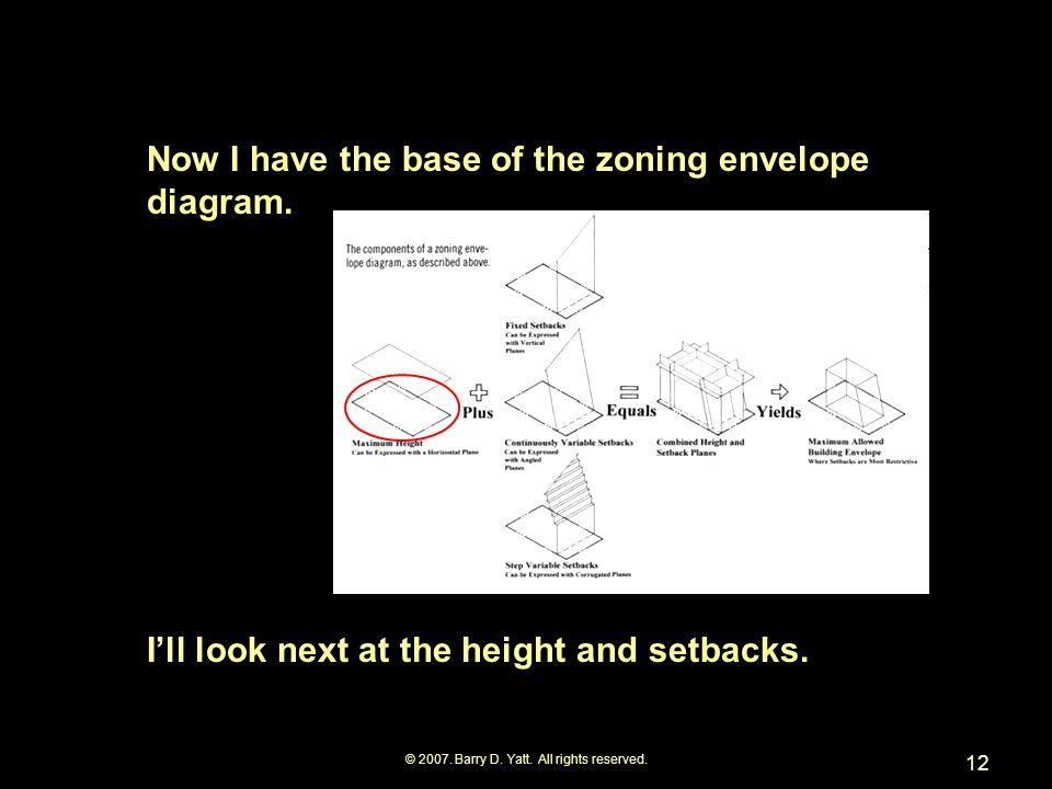 © 2007.Barry D. Yatt. All rights reserved. 12 Now I have the base of the zoning envelope diagram.