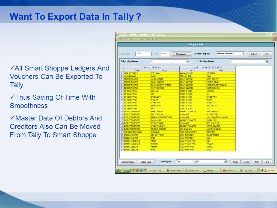 Want To Export Data In Tally . All Smart Shoppe Ledgers And Vouchers Can Be Exported To Tally.