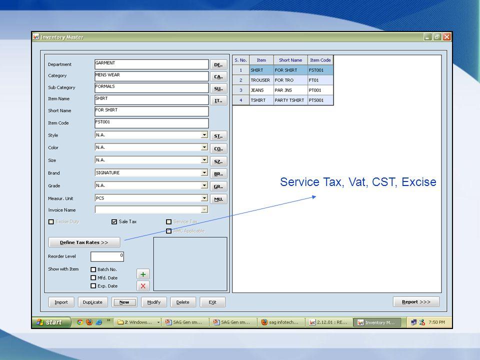 Service Tax, Vat, CST, Excise