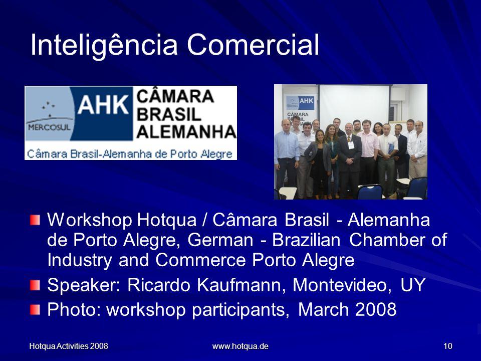 Hotqua Activities 2008 www.hotqua.de 10 Inteligência Comercial Workshop Hotqua / Câmara Brasil - Alemanha de Porto Alegre, German - Brazilian Chamber of Industry and Commerce Porto Alegre Speaker: Ricardo Kaufmann, Montevideo, UY Photo: workshop participants, March 2008