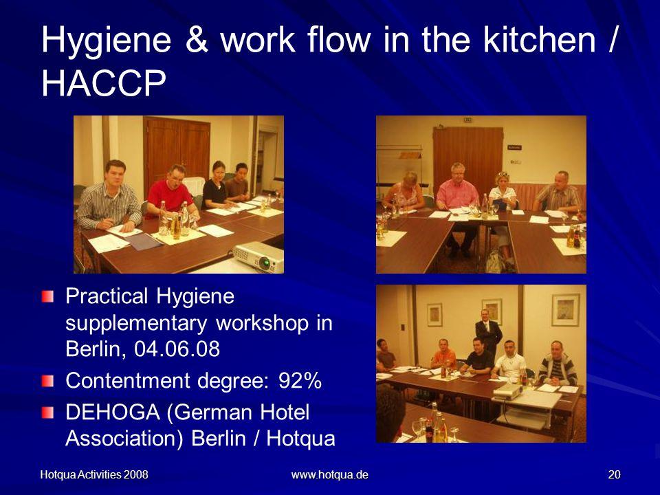 Hotqua Activities 2008 www.hotqua.de 20 Hygiene & work flow in the kitchen / HACCP Practical Hygiene supplementary workshop in Berlin, 04.06.08 Contentment degree: 92% DEHOGA (German Hotel Association) Berlin / Hotqua