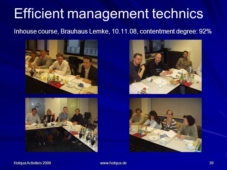 Hotqua Activities 2008 www.hotqua.de 39 Efficient management technics Inhouse course, Brauhaus Lemke, 10.11.08, contentment degree: 92%