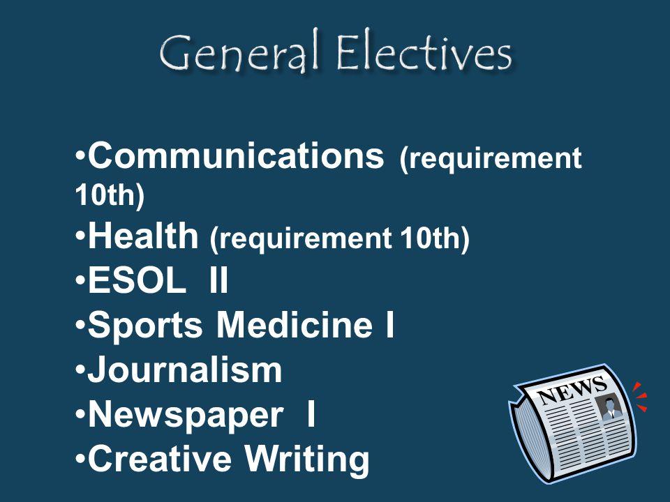 Communications (requirement 10th) Health (requirement 10th) ESOL II Sports Medicine I Journalism Newspaper I Creative Writing