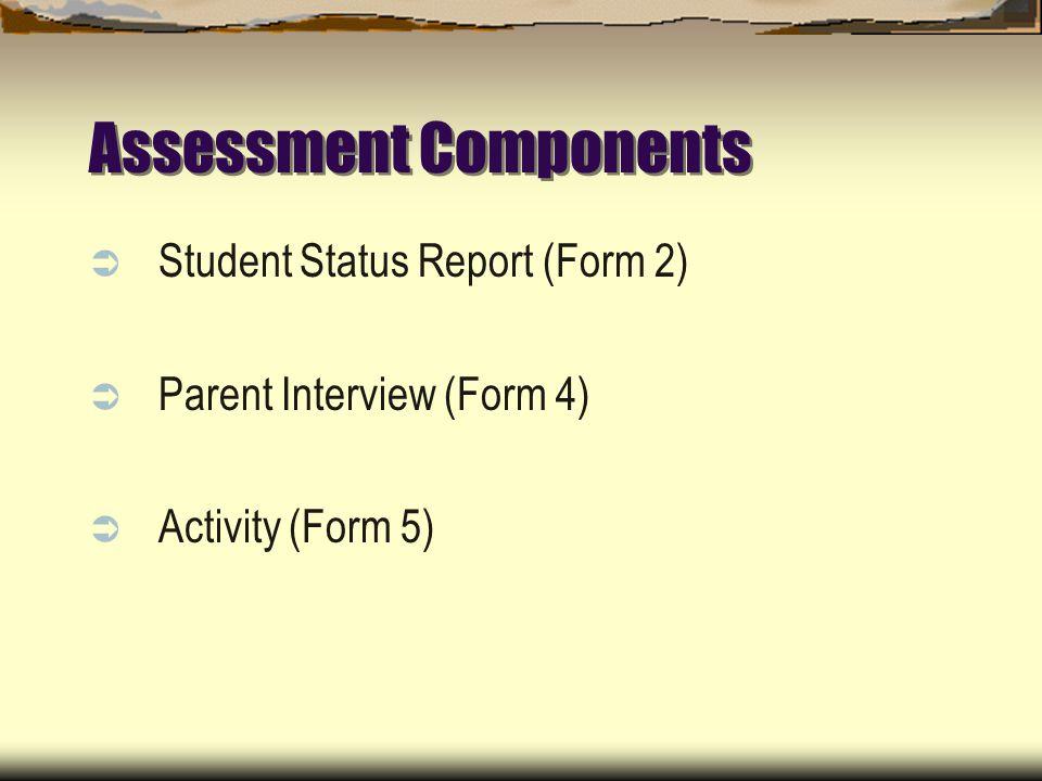 Assessment Components Student Status Report (Form 2) Parent Interview (Form 4) Activity (Form 5)