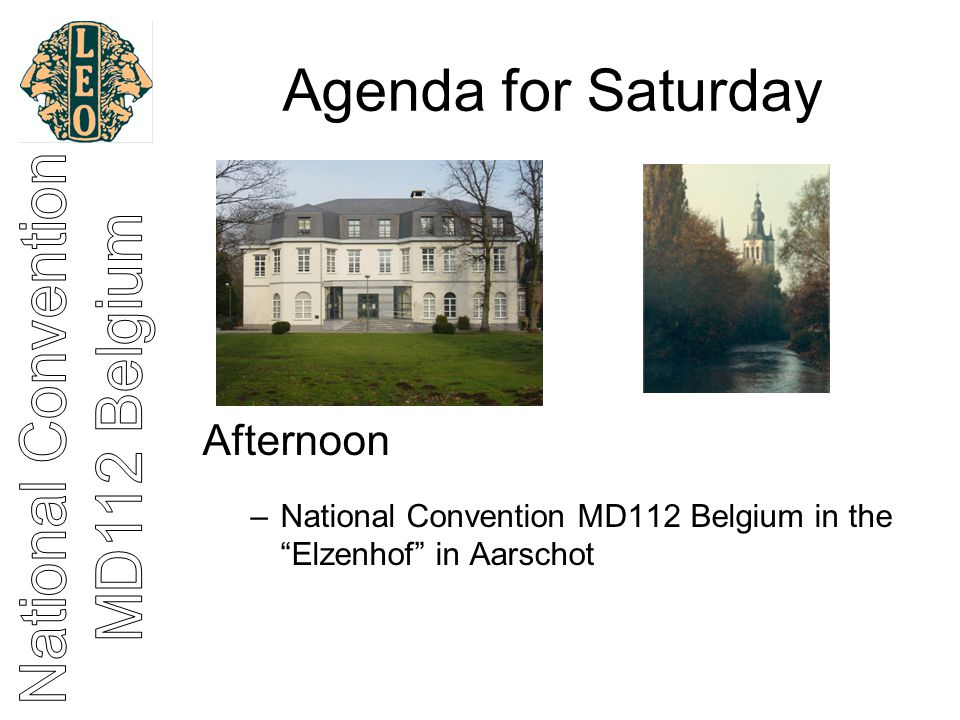 Agenda for Saturday Evening –Galabal in Salons Lassaut in Holsbeek
