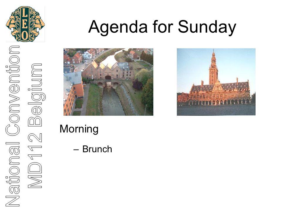 Agenda for Sunday Morning –Brunch