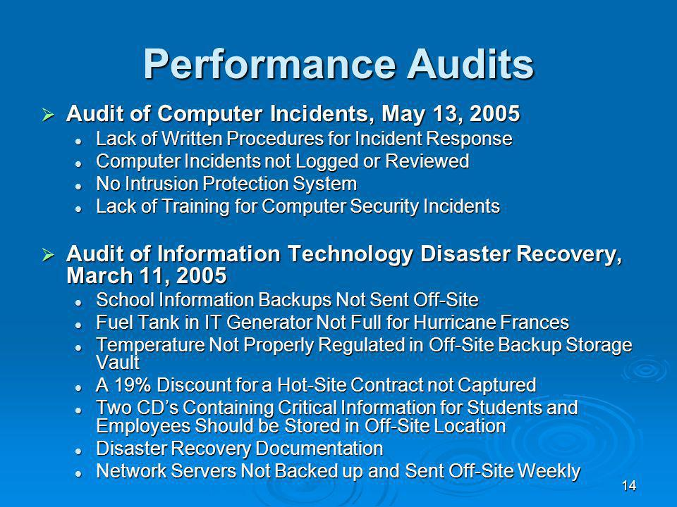 14 Performance Audits Audit of Computer Incidents, May 13, 2005 Audit of Computer Incidents, May 13, 2005 Lack of Written Procedures for Incident Response Lack of Written Procedures for Incident Response Computer Incidents not Logged or Reviewed Computer Incidents not Logged or Reviewed No Intrusion Protection System No Intrusion Protection System Lack of Training for Computer Security Incidents Lack of Training for Computer Security Incidents Audit of Information Technology Disaster Recovery, March 11, 2005 Audit of Information Technology Disaster Recovery, March 11, 2005 School Information Backups Not Sent Off-Site School Information Backups Not Sent Off-Site Fuel Tank in IT Generator Not Full for Hurricane Frances Fuel Tank in IT Generator Not Full for Hurricane Frances Temperature Not Properly Regulated in Off-Site Backup Storage Vault Temperature Not Properly Regulated in Off-Site Backup Storage Vault A 19% Discount for a Hot-Site Contract not Captured A 19% Discount for a Hot-Site Contract not Captured Two CDs Containing Critical Information for Students and Employees Should be Stored in Off-Site Location Two CDs Containing Critical Information for Students and Employees Should be Stored in Off-Site Location Disaster Recovery Documentation Disaster Recovery Documentation Network Servers Not Backed up and Sent Off-Site Weekly Network Servers Not Backed up and Sent Off-Site Weekly
