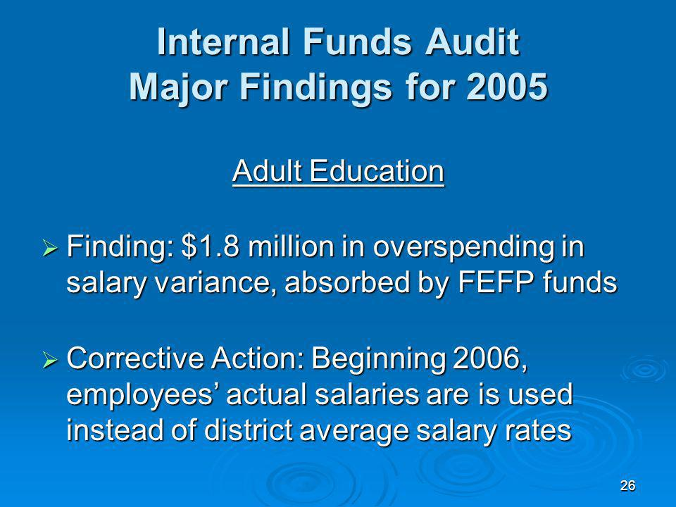 26 Internal Funds Audit Major Findings for 2005 Adult Education Finding: $1.8 million in overspending in salary variance, absorbed by FEFP funds Finding: $1.8 million in overspending in salary variance, absorbed by FEFP funds Corrective Action: Beginning 2006, employees actual salaries are is used instead of district average salary rates Corrective Action: Beginning 2006, employees actual salaries are is used instead of district average salary rates