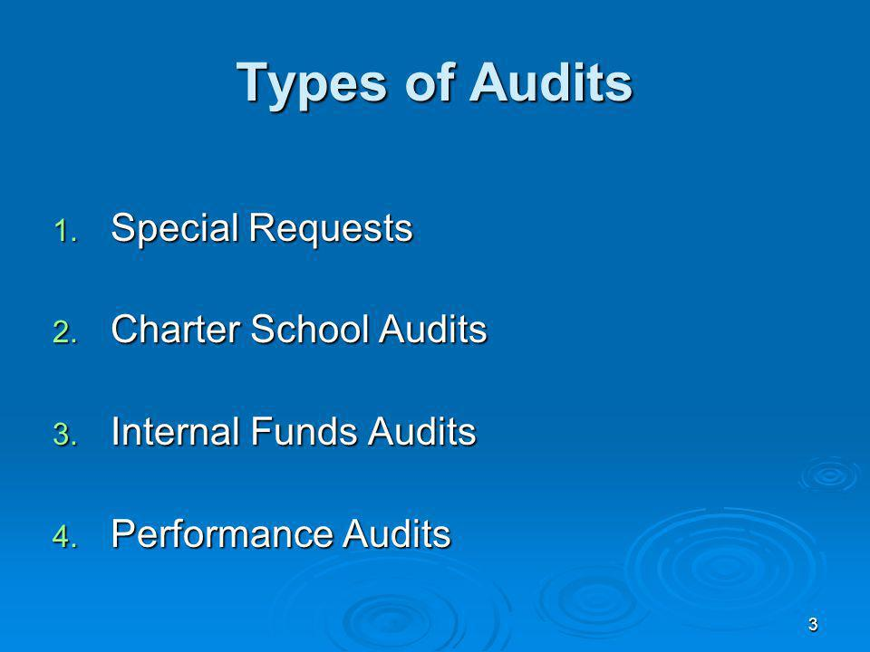 3 Types of Audits 1. Special Requests 2. Charter School Audits 3.