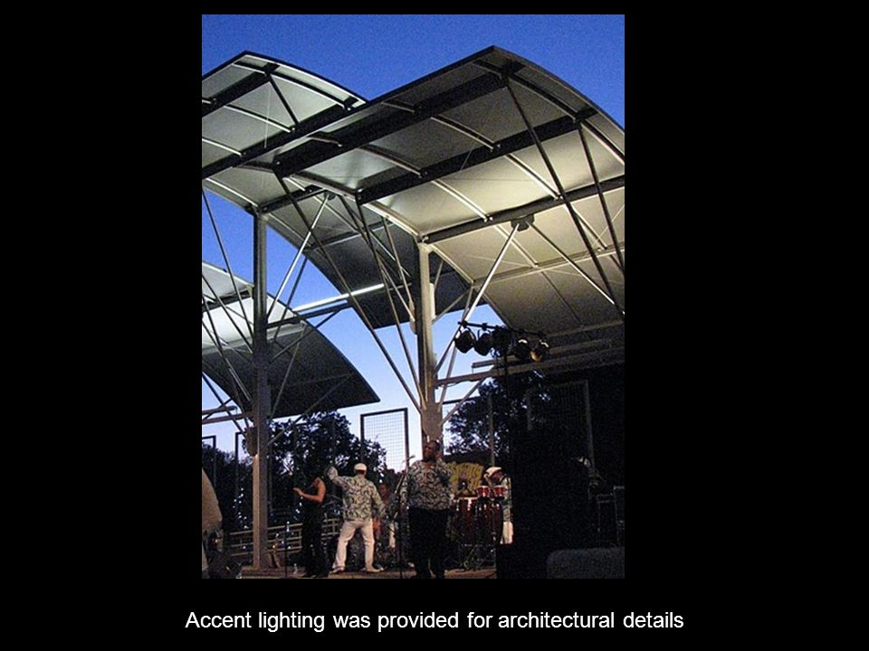 Accent lighting was provided for architectural details