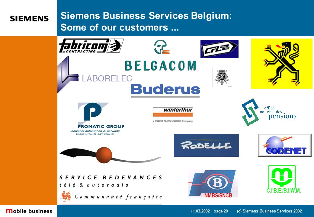 11.03.2002 page 20 (c) Siemens Business Services 2002 NMBS/SNCB C.I.B.E./B.I.W.M.