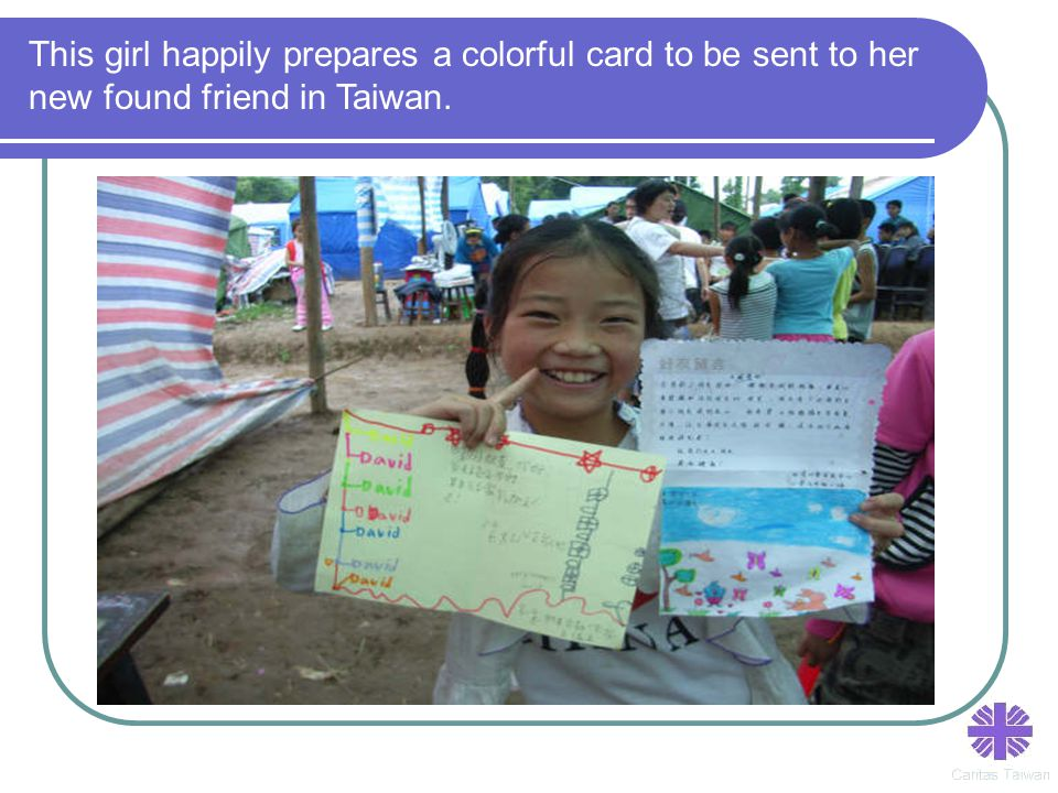 This girl happily prepares a colorful card to be sent to her new found friend in Taiwan.