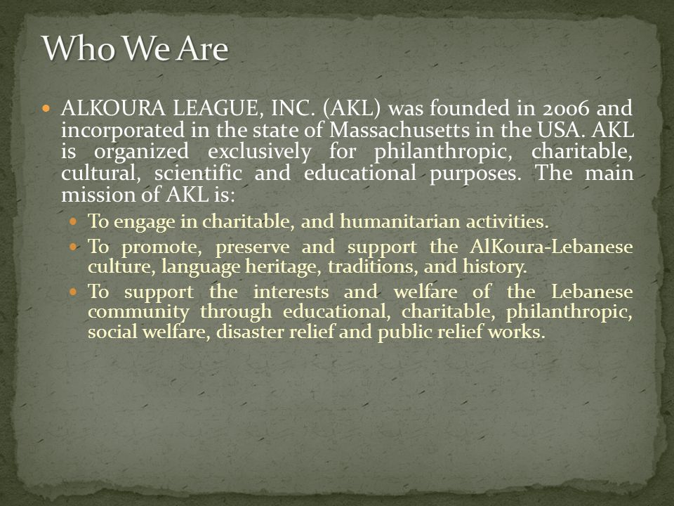 ALKOURA LEAGUE, INC.