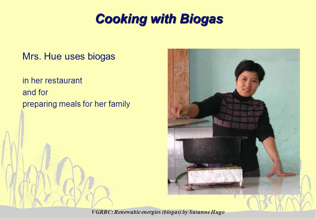 VGRRC: Renewable energies (biogas) by Susanne Hugo Cooking with Biogas Mrs.