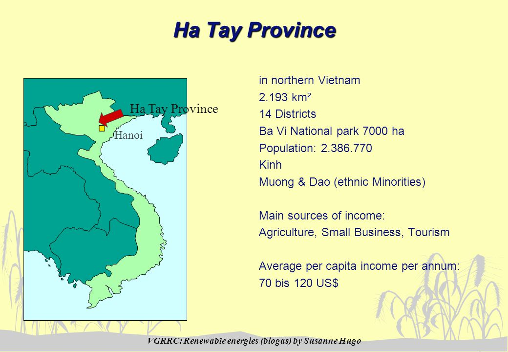 VGRRC: Renewable energies (biogas) by Susanne Hugo Ha Tay Province in northern Vietnam 2.193 km² 14 Districts Ba Vi National park 7000 ha Population: 2.386.770 Kinh Muong & Dao (ethnic Minorities) Main sources of income: Agriculture, Small Business, Tourism Average per capita income per annum: 70 bis 120 US$ Ha Tay Province Hanoi
