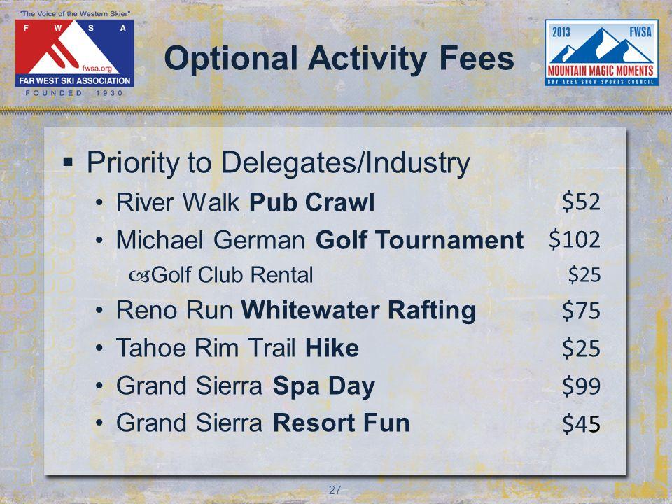 27 Optional Activity Fees Priority to Delegates/Industry River Walk Pub Crawl Michael German Golf Tournament –Golf Club Rental Reno Run Whitewater Rafting Tahoe Rim Trail Hike Grand Sierra Spa Day Grand Sierra Resort Fun $52 $102 $25 $75 $25 $99 $45